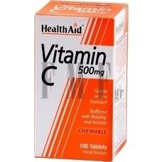 HEALTH AID Vitamin C Chewable 500mg with Rosehip & Acerola - 100 Tabs.