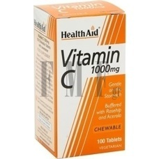 HEALTH AID Vitamin C Chewable 1000mg with Rosehip & Acerola - 100 Tabs.