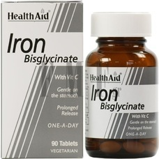HEALTH AID Iron Bisglycinate - 90 Tabs.