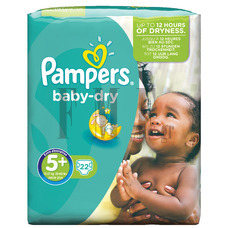 PAMPERS Baby Dry Junior Plus No5 (13-27 kg) - 22 Τεμ.