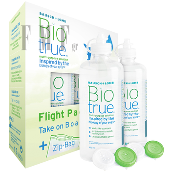 BAUSCH & LOMB BioTrue Flight Pack - 2x60 ml. + 2 Θήκες + ZipBag