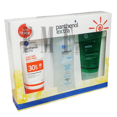 PANTHENOL EXTRA Extra Sun Care Body Milk SPF30 150ml. - Extra Glacier Face Water 250ml. & Extra Aloe Vera Gel 150ml.