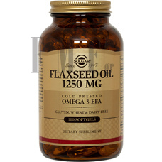 SOLGAR Flaxseed Oil (Cold Pressed) 1250mg - 100 Tabs.
