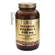 SOLGAR Vitamin C 500mg Raspberry - 90 Tabs.