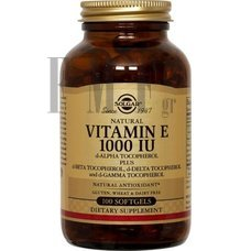 SOLGAR Vitamin E Natural softgels 1000 IU - 100 Caps.