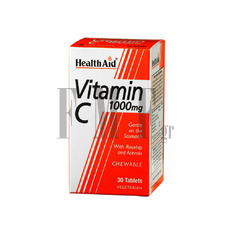 HEALTH AID Vitamin C Chewable 1000mg with Rosehip & Acerola - 30 Tabs.