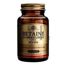 SOLGAR Betaine Hydrochloride with Pepsin - 100 Tabs.