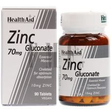 HEALTH AID Zinc Gluconate 70mg. - 90 Tabs.