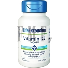 LIFE EXTENSION Vitamin D3 1000 IU - 250 Caps.